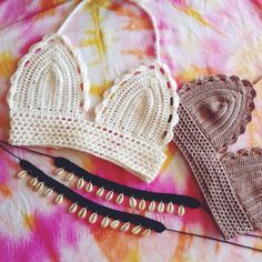 Crochet bikini crop top by SolDreamer on Etsy