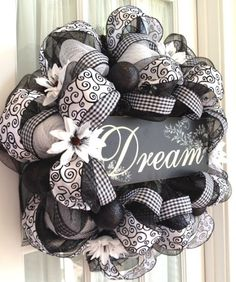 Image detail for -Elegant Black White Deco Mesh Wreath by Southern Charm Wreaths.?