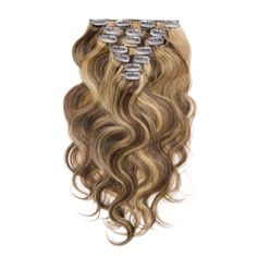 7pcs Body Wavy Clip In Remy Hair Extensions #4/27 - Beauty
