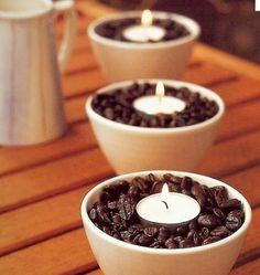 la decoración de mis mesas: Ideas para mesas: Decorar con granos de café.