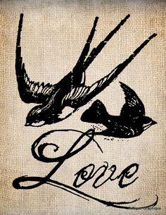 Antique Love Birds Swallows Illustration (Antique Graphique at Etsy) $1.00                                   Antique Love Birds Swallows Illustration