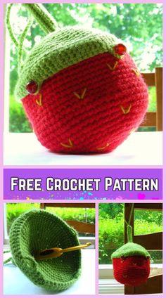 Crochet Little Acorn Project Bag Free Crochet Pattern for Crochet Lovers: acorn pouch bag for kids, acorn yarn bag Crochet Fall, Cute Crochet, Knit Crochet, Knitting Projects, Crochet Projects, Crochet Strawberry, Beginner Crochet Tutorial, Little Acorns, Yarn Bag