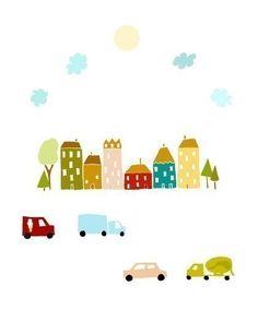 kids room art, print, baby nursery, baby shower, little boy, cars, trucks - WEE LITTLE TOWN. $18.00, via Etsy.