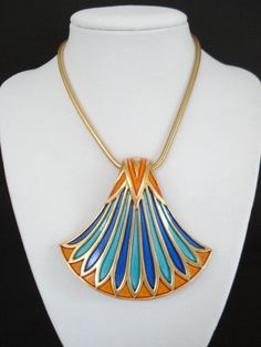 Wow I want this.  Vintage Trifari Huge Egyptian Revival Lotus Flower by Objeks, $395.00