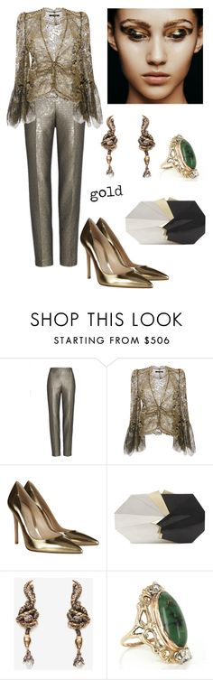 """Untitled #462"" by jeauhall ❤ liked on Polyvore featuring St. John, Roberto Cavalli, Gianvito Rossi, Jill Haber, Alexander McQueen, Vintage, gold and metallic"