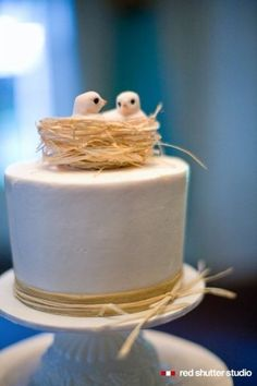 I love how simple this and the cake is. Not a HUGE fan of the toppers, though. But like the concept.     Cake Toppers Wedding Cakes Photos on WeddingWire