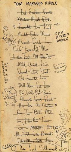 Tom Riddle to coming up with an anagram of his name Esto me hizo reír hasta morir jajajaja Harry Potter humor