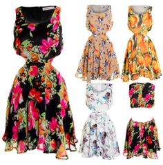 Ladies Floral Animal White Black Mocca Chiffon Side and Back Cutout Summer Dress
