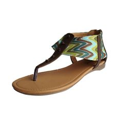 Qupid Women's Agency237x Leatherette Zig Zag Thong Flat Sandal ** You can get more details by clicking on the image.