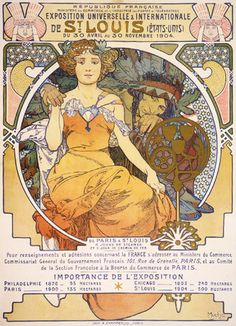 Alphonse Mucha | Art nouveau color lithograph poster showing a seated woman clasping the hand of a Native American - 1903.