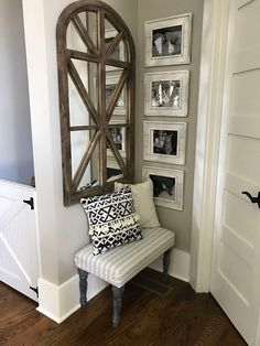 Sherwin Williams SW 7044 Amazing Gray sources on Home Bunch Small Entryway Decor, Foyer Wall Decor, Entryway Shelf, Staircase Wall Decor, Hallway Decorating, Entryway Console Table, Decorating Games, Open Entryway, Console Tables