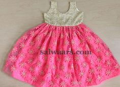 Thread Work Flowers Frock - Indian Dresses