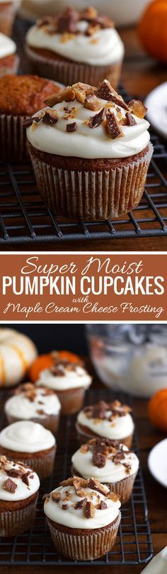 Super Moist Pumpkin Cupcakes with Maple Cream Cheese Frosting and Chopped toffee! #pumpkincupcakes #cupcakes #maplecreamcheesefrosting | Littlespicejar.com