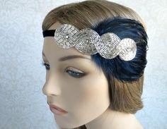 1920s Headbands Great Gatsby Flapper Headpiece, 20s Hair Accessories Art Deco Silver Beaded Headband Navy or Black Feathers