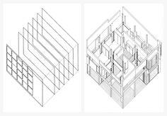 (1) Eisenman' axonometric analysis diagram of Terragni's Casa del Fascio: layering of frontal planes. (2) Eisenman's House II: a layered reading or interpretation; actual vs implied