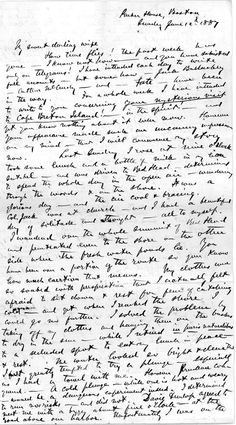 "A letter from Alexander Graham Bell to Mabel Hubbard Bell, dated June 12, 1887, which describes his possible encounter with a ghost. ""I was never so startled and surprised in my life,"" he writes. ""A sort of a creepy uncanny sort of feeling came over me -- which it required all my philosophy to dispel."""