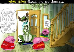 The real hyena on the loose. Political Satire, Hyena, Warfare, African, Let It Be, Cartoons, Politics, Home Decor, Cartoon