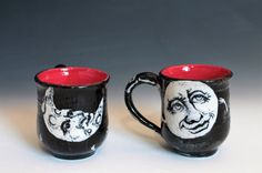 Black and White Cup  Grotesque Face Moon Cup Dia by tjCervantesArt, $25.00