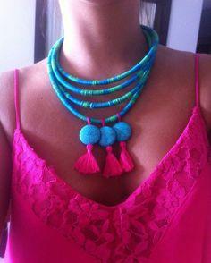 De sexta ❤ #nangara #handmade #colar #necklace #neckpiece #acessórios #summer #verão #feitoamão #turquoise #turquesa #pink #ecochic #boho #bohemian #bohochic