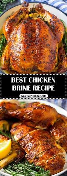 This chicken brine recipe is made with lemons, honey, fresh herbs and spices, and produces a juicy tender chicken every time! Smoked Chicken Brine, Whole Chicken Marinade, Brined Chicken Recipe, Smoked Chicken Recipes, Chicken Marinade Recipes, Grilling Recipes, Slow Cooker Recipes, Cooking Recipes, Rotisserie Chicken Brine Recipe