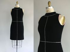 1960s dress / RHINESTONE Knit Dress / M L by LantanaVintage