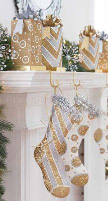 goldits back love this site for mantle ideas - Gold Christmas Stocking