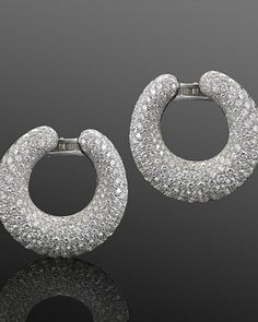 Pavé Diamond Hoop Earrings, French, circa 1960s