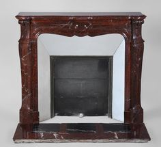 Pompadour antique Fireplace in Red Griotte marble, century - Marble Vintage Fireplace, Modern Fireplace, Fireplace Mantels, Pompadour, Marble Floor, Cool Furniture, 19th Century, Flooring, Mirror