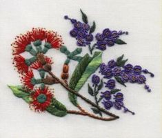 Red Blossoms & Hardenbergia by Delma Moore