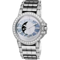 Harry Winston Ocean Lady Moon Phase 36mm oceqmp36ww020 Watch (879.731.550 IDR) ❤ liked on Polyvore featuring jewelry, watches, white gold jewelry, harry winston watches, harry winston jewelry, white gold jewellery and harry winston