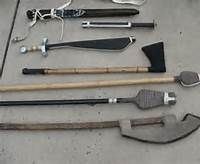 A nice selection of rattan weapons.