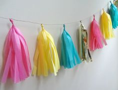 Bright Pink Aqua Yellow and Gold Tissue Tassel by onestylishparty, $24.00