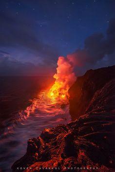 ~~The New Land ~ molten lava flows into the ocean, Big Island, Hawaii by Koveh Tavakkol~~