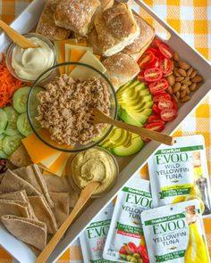 Build-Your-Own Tuna Sandwich Board • New Recipes, Snack Recipes, Whole Wheat Rolls, My Favorite Food, Favorite Recipes, Sandwich Fillings, Greek Olives, Sandwich Board, Roasted Almonds