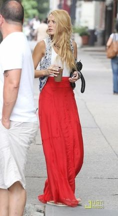 Love the skirt...Blake Lively in adorable maxi skirt and white tank with cutoff jean jacket