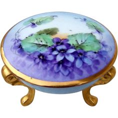 Beautiful Bavaria 1900's Hand Painted Violets 3-Footed Dresser Box