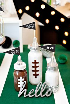 A Football Baby Shower (Sip and See) with NFL Homegating - DIY Football Baby Bottle Decorations for a Football Baby Shower Source by Best Kadın Baby Shower Cakes, Baby Shower Parties, Baby Boy Shower, Baby Bottle Decorations, Baby Shower Decorations, Sip And See, Theme Sport, Football Baby Shower, Sports Theme Baby Shower