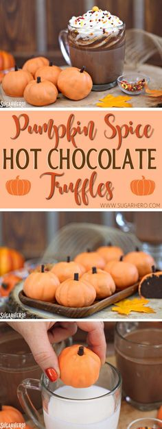 Pumpkin Spice Hot Chocolate Truffles - pumpkin spice chocolate truffles that turn into hot chocolate when you add them to milk! | From SugarHero.com