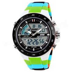 Casual Analog Dual Time Zone Digital Waterproof with Alarm Back Light