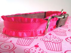 Pink Ruffles Small Dog Collar -  girly dog collar, pink dog collar, ruffled dog collar. $16.00, via Etsy.