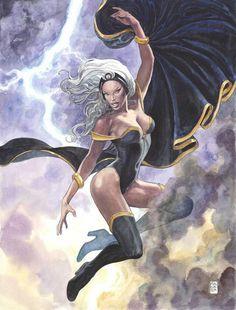 Marvel Comics (July Storm Variant Edition Cover art by Milo Manara Comic Book Characters, Marvel Characters, Comic Character, Comic Books Art, Female Characters, Arte Dc Comics, Bd Comics, Comics Girls, Black Comics