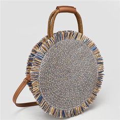 Tassel Beach Handbag High Quality Straw Bags For Women Lady Beach Woven Bag Big Round Totes Fringed Girls Travel Shoulder Bag - blue Fringe Handbags, Straw Handbags, Tote Handbags, Round Straw Bag, Round Bag, Straw Tote, Summer Bags, Blue Bags, Roberto Cavalli