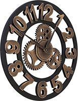 """Chevy K. 16"""" Round Wall Clock, Antique Handmade Wooden Vintage 3D Gear Design,"""