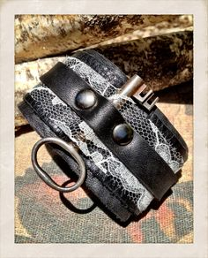 20% OFF with promo code: JUNELOVE20  Steampunk, Black leather with Cream Lace and Vintage skeleton key cuff bracelet, leather and lace cuff with key, by torn to pieces