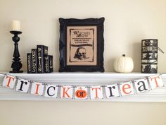 TRICK or TREAT Decoration ~ Happy Halloween Banner ~ Halloween Kids Party Decoration ~ Black Orange Autumn Garland ~ Rustic Fall Decorations