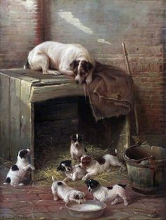 An Anxious Mother 1891 ~ Valentine Thomas Garland Animals And Pets, Cute Animals, Animal Painter, Jack Russell Dogs, Parson Russell Terrier, Mother Art, Rat Terriers, Vintage Dog, Animal Paintings