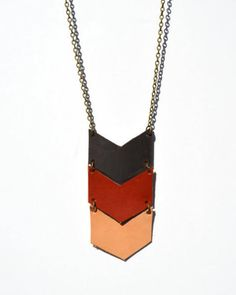 Chevron Necklace Leather Necklace TriColor Long by BayouGlassArts, $32.00