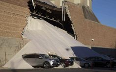 A partially collapsed wall at the Morton Salt facility gave way to tons of salt being dumped onto parked cars at an adjacent car dealership in Chicago, Illinois. No injuries were reported in the incident but several cars were covered in salt.