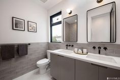 Contemporary 3/4 Bathroom with Clayhaus 2x8 Brine - Light Gray Ceramic Tile, Double sink, High ceiling, penny tile floors