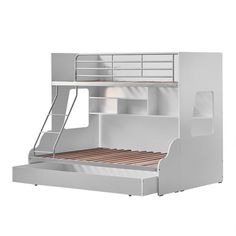 VIC Furniture White & Silver Single Over Double Trio Bunk Bed with Shelves & Trundle Trio Bunk Beds, Kids Furniture Online, Home Bedroom Design, Diy Bedroom, Bedroom Ideas, Bed Shelves, Bedroom Light Fixtures, Homewares Online, Man Room